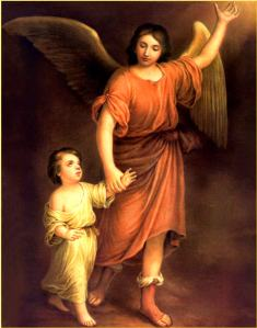 Angel-Guardian Angel walking with child