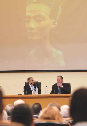 Cairo: British archaeologist Nicholas Reeves (right)and Egypt's Minister of Antiquities Mamdouh Damati addressing a press conference here on Thursday.—AFP