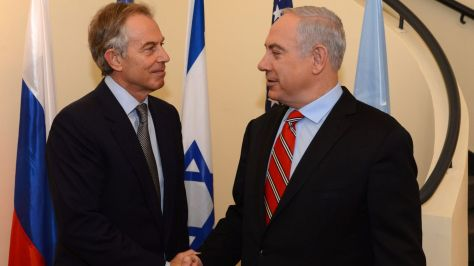 Netanyahu (right) meets with Middle East Quartet envoy Tony Blair at the Prime Minister's residence in Jerusalem. Credit: Kobi Gideon / GPO