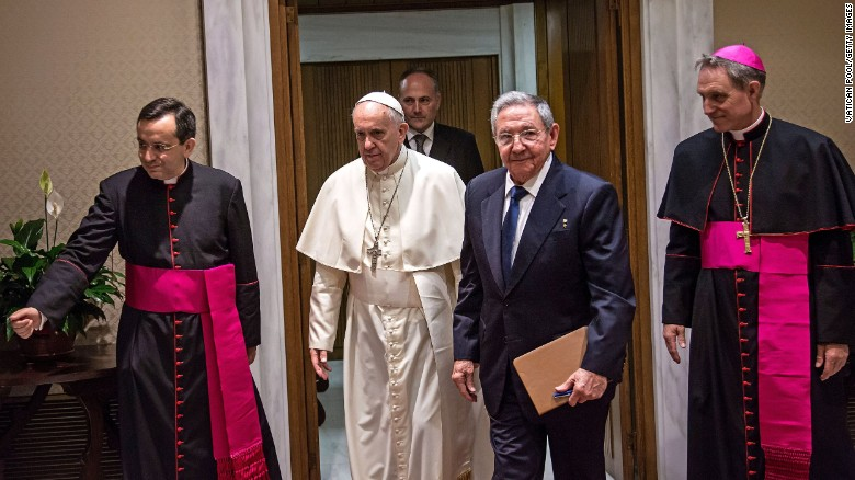 Pope Francis meets with Cuban President Raul Castro at the Vatican on Sunday, May 10. Castro thanked the Pope for his role in brokering the rapprochement between Havana and Washington.