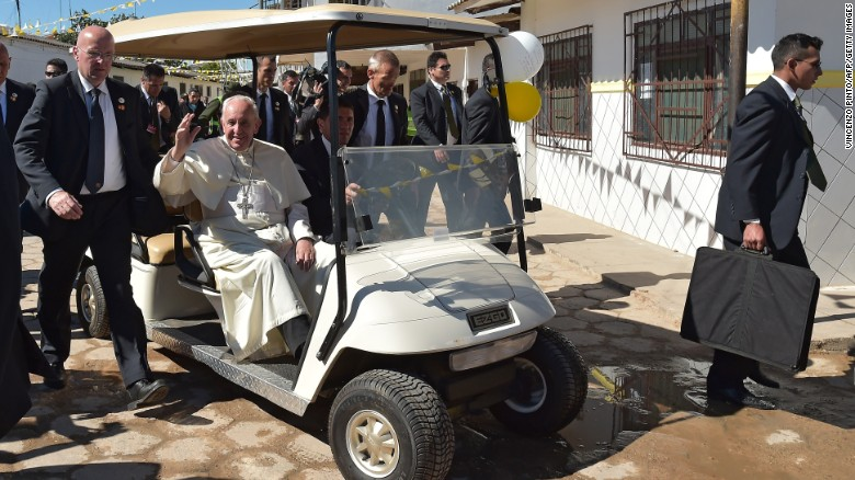 "Pope Francis arrives for his visit with prisoners in Santa Cruz, Bolivia, on Friday, July 10. The Pope emphasized the plight of the poor during <a href=""http://www.cnn.com/2015/07/05/americas/gallery/pope-francis-south-america/index.html"" target=""_blank"">his eight-day tour of South America,</a> which also included stops in Ecuador and Paraguay."